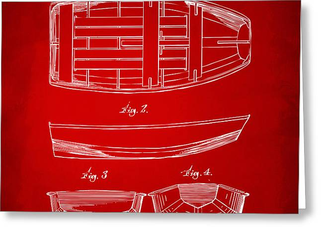 1938 Rowboat Patent Artwork - Red Greeting Card by Nikki Marie Smith