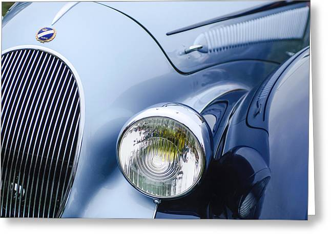 1938 Greeting Cards - 1938 Talbot-Lago 150C SS Figoni and Falaschi Cabriolet Headlight - Emblem Greeting Card by Jill Reger