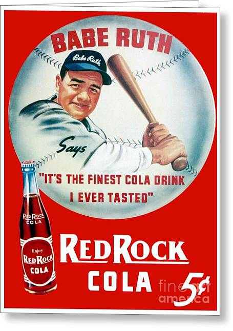 Babe Ruth Posters Greeting Cards - 1939 - Babe Ruth - Red Rock Cola Poster - Color Greeting Card by John Madison