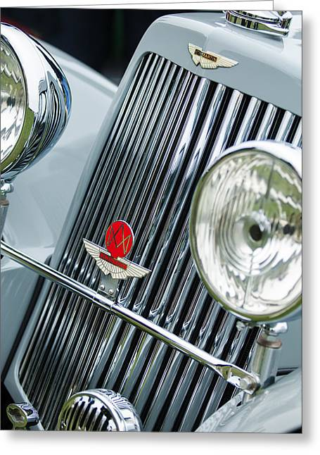 Photos Of Car Greeting Cards - 1939 Aston Martin 15-98 Abbey Coachworks SWB Sports Grille Emblems Greeting Card by Jill Reger