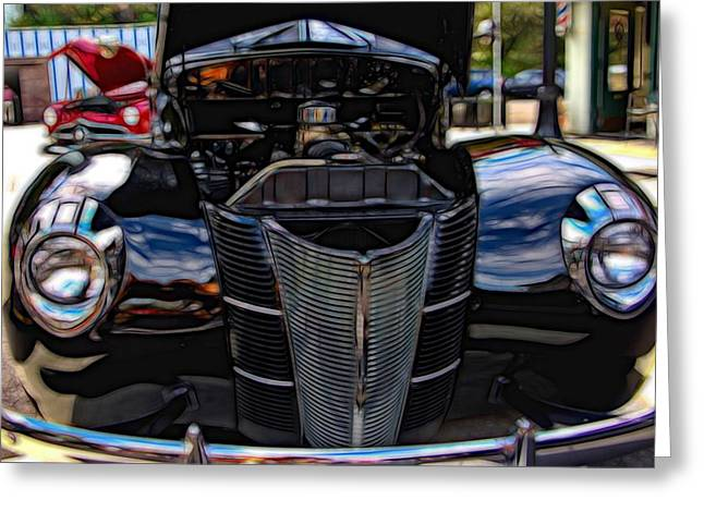 Classic Car Photographs Greeting Cards - 1939 Black Ford Coupe Greeting Card by Thom Zehrfeld