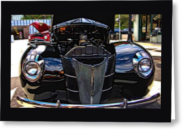 Old Car Greeting Cards - 1939 Black Ford Coupe Greeting Card by Thom Zehrfeld