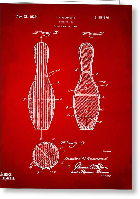 Bowling Greeting Cards - 1939 Bowling Pin Patent Artwork - Red Greeting Card by Nikki Marie Smith