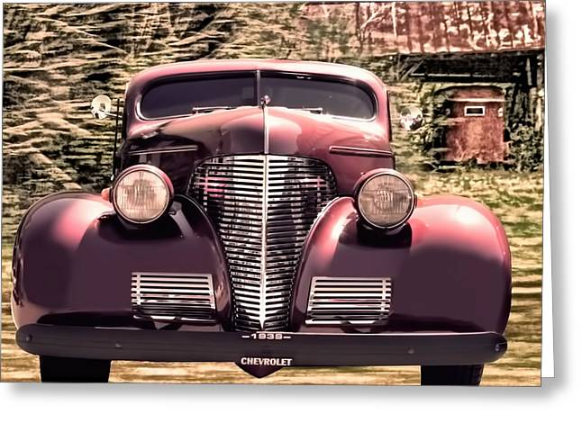 Chevrolet Greeting Cards - 1939 Chevy Immenent Front Art II Greeting Card by Lesa Fine