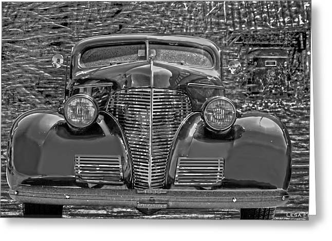 Auto Greeting Cards - 1939 Chevy Immenent Front BW Art Greeting Card by Lesa Fine