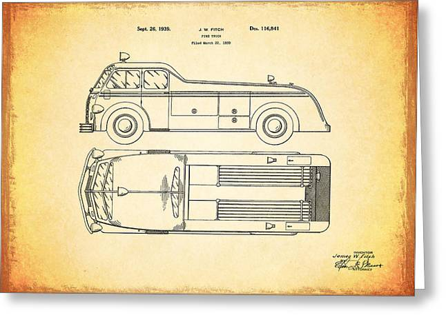 Fire Engines Greeting Cards - 1939 Fire Truck Patent Greeting Card by Mark Rogan
