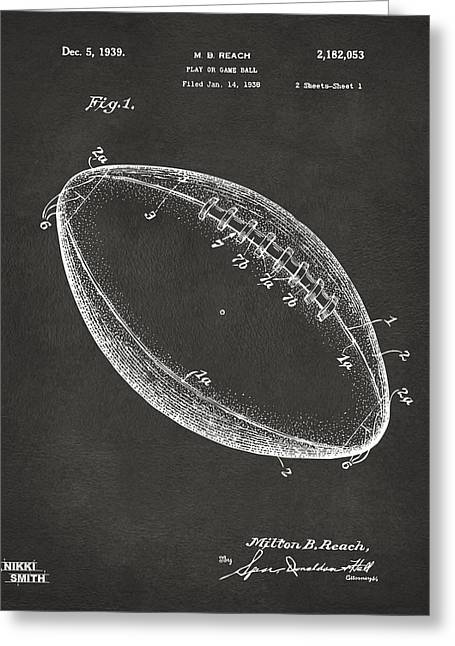 College Football Greeting Cards - 1939 Football Patent Artwork - Gray Greeting Card by Nikki Marie Smith