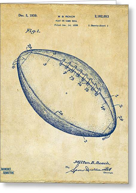 Sports Fan Greeting Cards - 1939 Football Patent Artwork - Vintage Greeting Card by Nikki Marie Smith