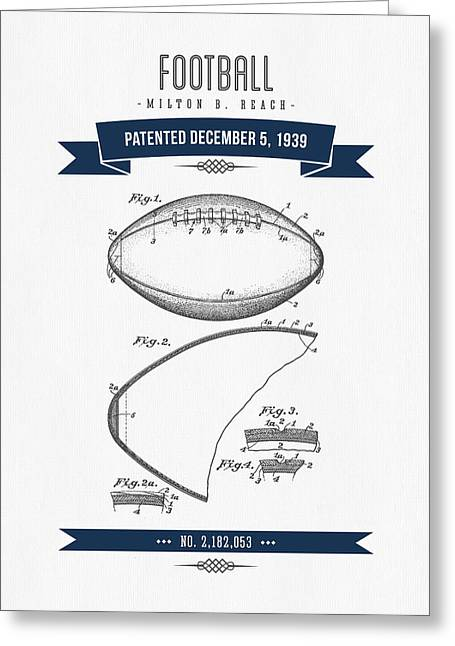 National Football League Digital Greeting Cards - 1939 Football Patent Drawing - retro Navy Blue Greeting Card by Aged Pixel