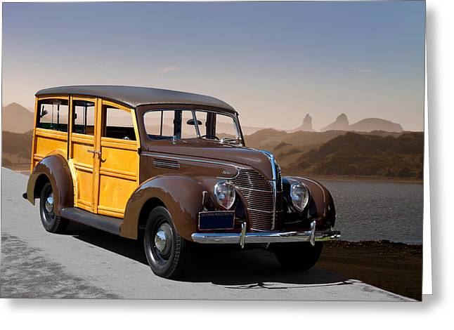 Station Wagon Greeting Cards - 1939 Ford Deluxe Station Wagon Greeting Card by Dave Koontz
