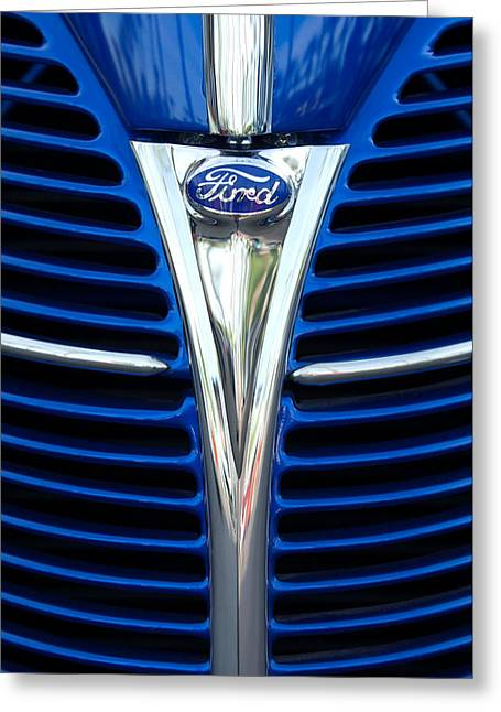 Woody Wagon Greeting Cards - 1939 Ford Woody Wagon Grille Emblem Greeting Card by Jill Reger