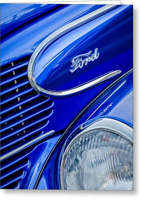 Woodies Greeting Cards - 1939 Ford Woody Wagon Side Emblem Greeting Card by Jill Reger