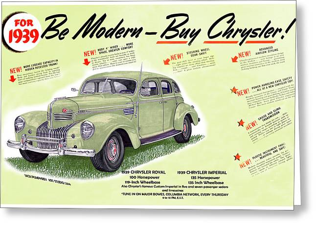 Article Greeting Cards - 1939 Imperial vintage automobile ad Greeting Card by Jack Pumphrey