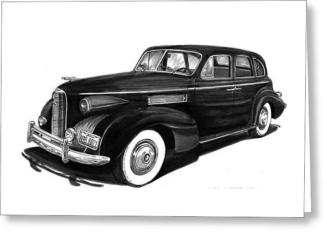 Pen And Ink Framed Prints Greeting Cards - 1939 LaSalle sedan Greeting Card by Jack Pumphrey