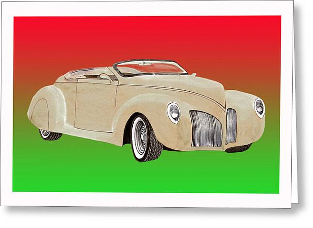 Will Power Paintings Greeting Cards - 1939 Lincoln Zephyr Speedster Greeting Card by Jack Pumphrey