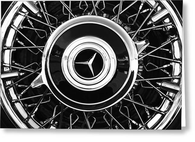 Wheels Greeting Cards - 1939 Mercedes-Benz 540K Special Roadster Wheel Rim Emblem Greeting Card by Jill Reger