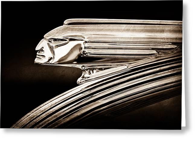 1939 Pontiac Silver Streak Greeting Cards - 1939 Pontiac Silver Streak Chief Hood Ornament Greeting Card by Jill Reger