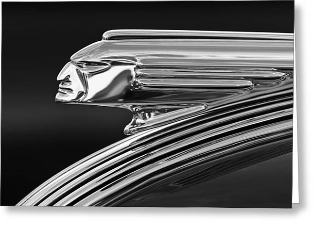 Collector Hood Ornament Greeting Cards - 1939 Pontiac Silver Streak Hood Ornament 3 Greeting Card by Jill Reger