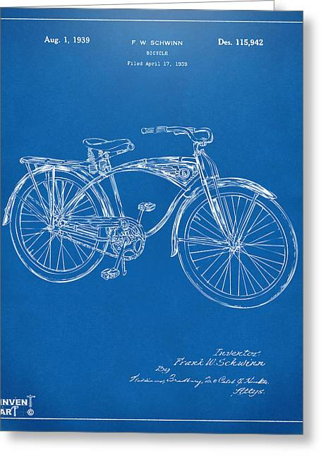 Vintage Bicycle Greeting Cards - 1939 Schwinn Bicycle Patent Artwork Blueprint Greeting Card by Nikki Marie Smith