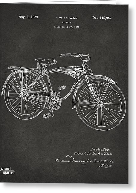 Vintage Bicycle Greeting Cards - 1939 Schwinn Bicycle Patent Artwork - Gray Greeting Card by Nikki Marie Smith