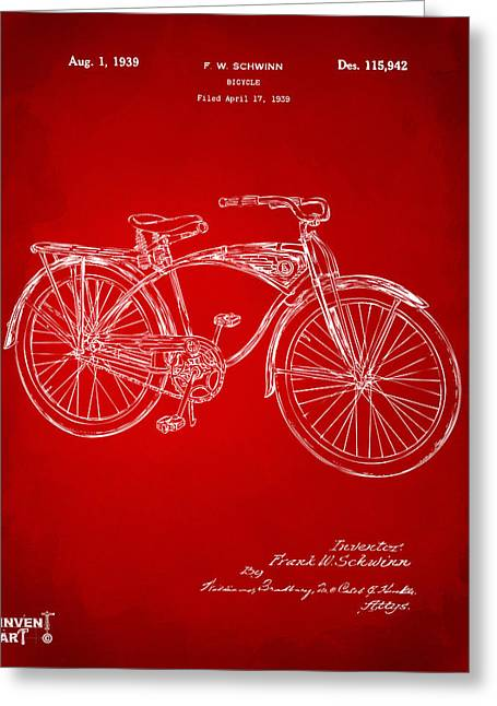 Vintage Bicycle Greeting Cards - 1939 Schwinn Bicycle Patent Artwork Red Greeting Card by Nikki Marie Smith
