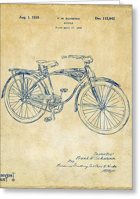 1939 Schwinn Bicycle Patent Artwork Vintage Greeting Card by Nikki Marie Smith