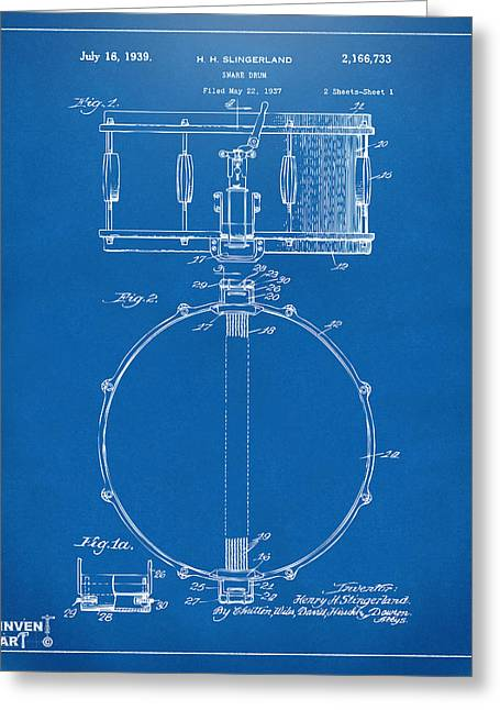 Cave Greeting Cards - 1939 Snare Drum Patent Blueprint Greeting Card by Nikki Marie Smith