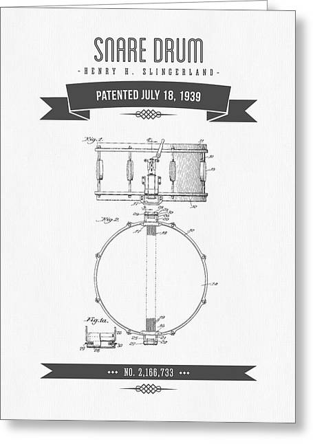 Snare Greeting Cards - 1939 Snare Drum Patent Drawing Greeting Card by Aged Pixel