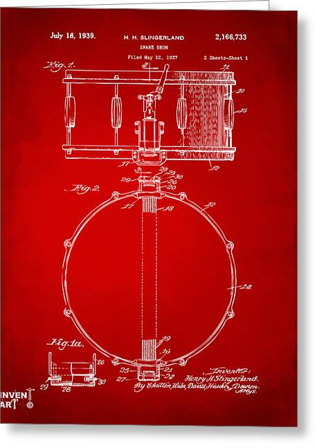 Marching Band Greeting Cards - 1939 Snare Drum Patent Red Greeting Card by Nikki Marie Smith