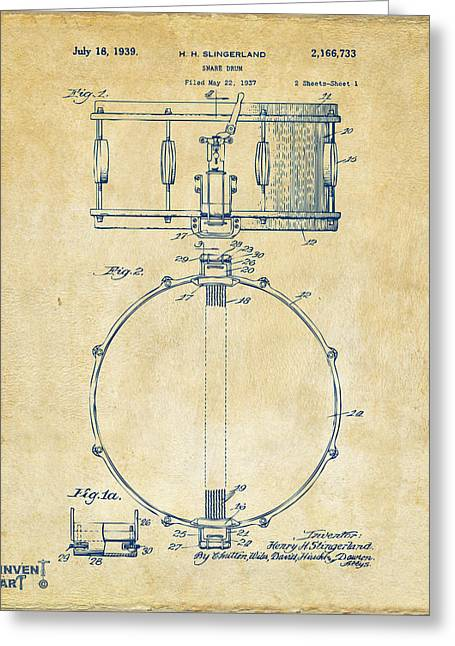 Drum Greeting Cards - 1939 Snare Drum Patent Vintage Greeting Card by Nikki Marie Smith