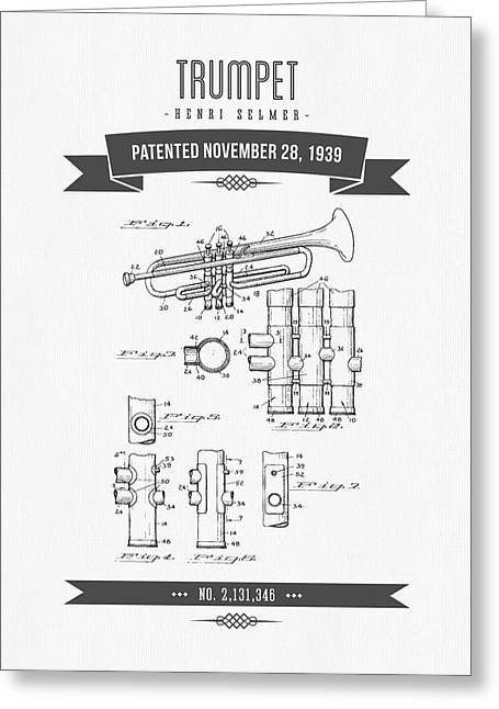 Instrument Mixed Media Greeting Cards - 1939 Trumpet Patent Drawing Greeting Card by Aged Pixel