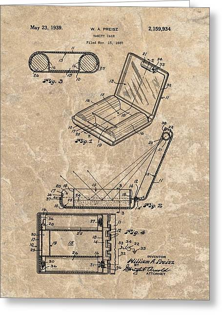 Engagement Ring Greeting Cards - 1939 Vanity Case Patent Greeting Card by Dan Sproul