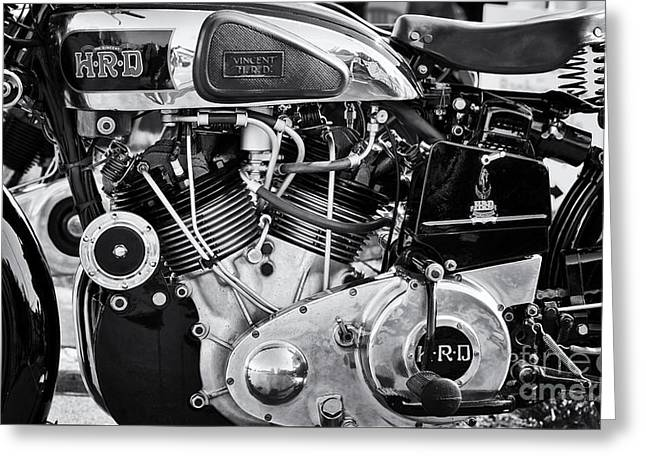 1930s Greeting Cards - 1939 Vincent HRD Series A Rapide Monochrome Greeting Card by Tim Gainey