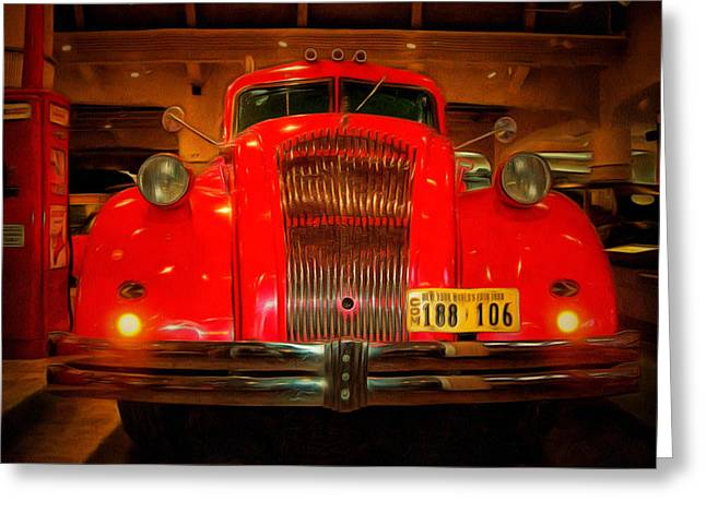 Mj Photographs Greeting Cards - 1939 Worlds Fair Fire Engine Greeting Card by MJ Olsen