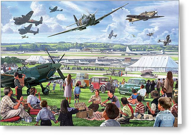 Airfield Greeting Cards - 1940 Airshow Greeting Card by Steve Crisp