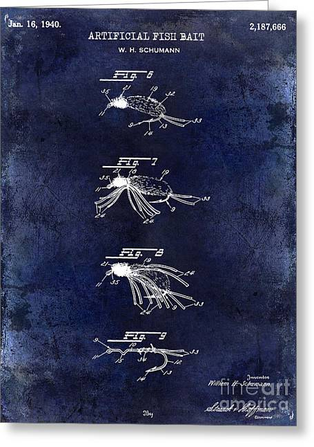 Large-mouth Bass Greeting Cards - 1940 Artificial Fish Bait Patent Drawing Blue Greeting Card by Jon Neidert
