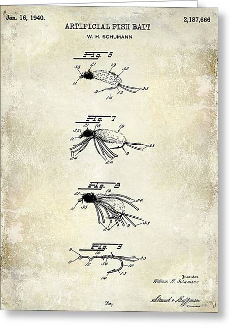 Naples Greeting Cards - 1940 Artificial Fish Bait Patent Drawing Greeting Card by Jon Neidert