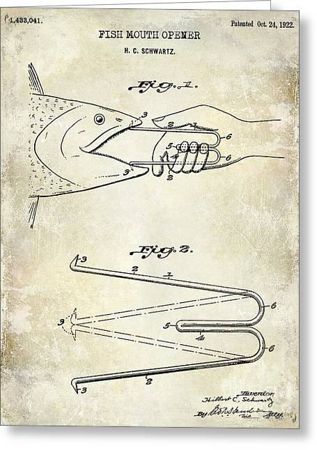 Large-mouth Bass Greeting Cards - 1940 Boning Fish Patent Drawing  Greeting Card by Jon Neidert
