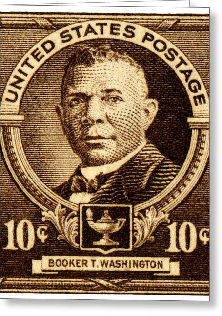 Booker T. Washington Greeting Cards - 1940 Booker T. Washington Stamp Greeting Card by Historic Image