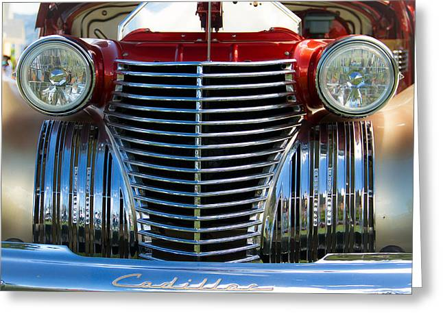 Clunker Greeting Cards - 1940 Cadillac Coupe front view Greeting Card by Eti Reid