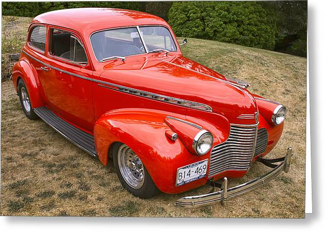 Red Chev Greeting Cards - 1940 Chevrolet 2 Door Sedan Greeting Card by Peggy Collins