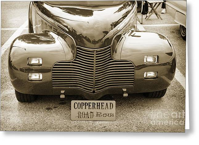 Masters Pictures Greeting Cards - 1940 Chevrolet Master Classic Car Automobile Front End Sepia  31 Greeting Card by M K  Miller
