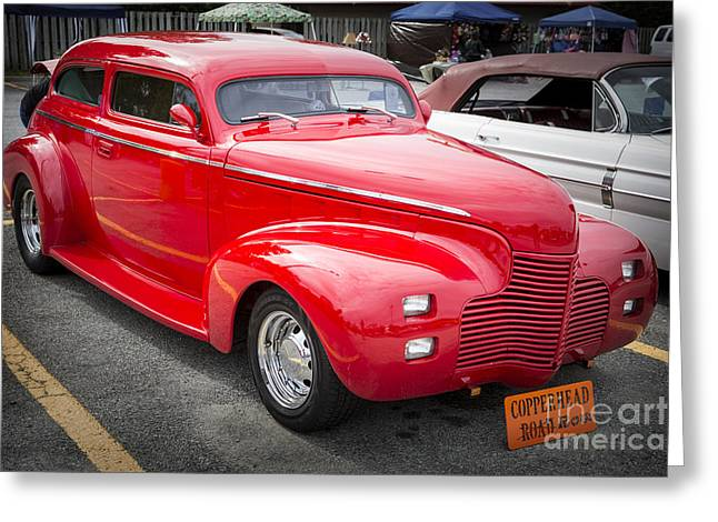 Masters Pictures Greeting Cards - 1940 Chevrolet Master Classic Car Side View Color  3112.02 Greeting Card by M K  Miller
