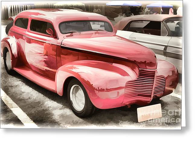 Masters Pictures Greeting Cards - 1940 Chevrolet Master Classic Painting  Color Red  3112.03 Greeting Card by M K  Miller