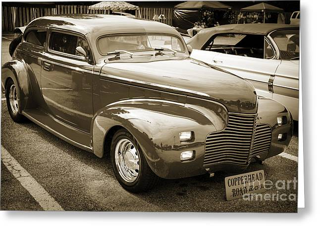 Masters Pictures Greeting Cards - 1940 Chevrolet Master Classic  Side View Sepia  3112.01 Greeting Card by M K  Miller
