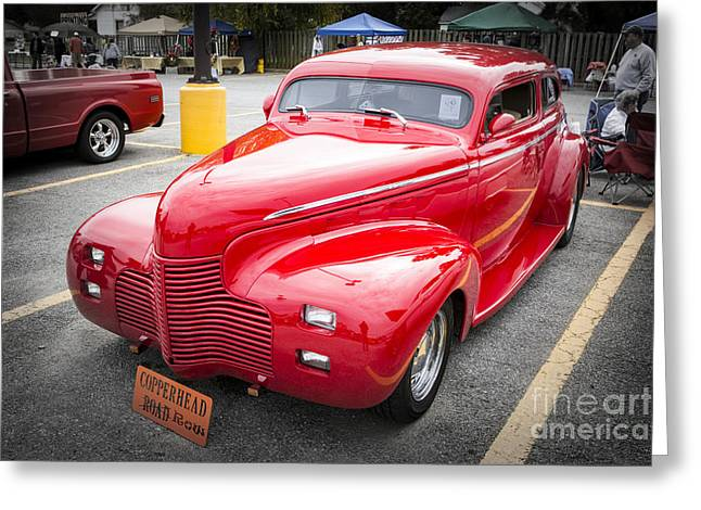 Masters Pictures Greeting Cards - 1940 Chevrolet Master Deluxe Classic Car Automobile Color Red  3 Greeting Card by M K  Miller