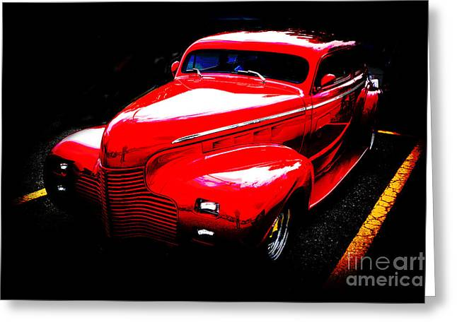 Masters Pictures Greeting Cards - 1940 Chevrolet Master Fine Art Classic Car Automobile Color Red  Greeting Card by M K  Miller