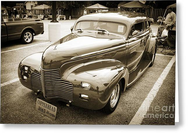 Masters Pictures Greeting Cards - 1940 Chevrolet Master Fine Art Classic Car Automobile Sepia  311 Greeting Card by M K  Miller