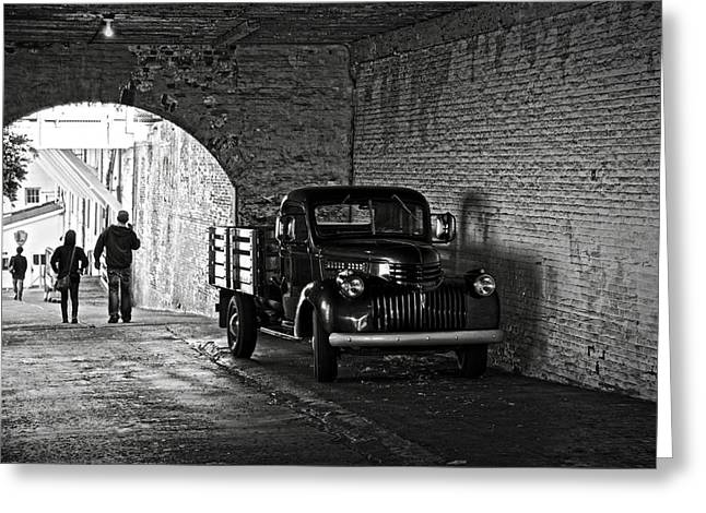 Alcatraz Greeting Cards - 1940 Chevrolet pickup truck in Alcatraz Prison Greeting Card by RicardMN Photography