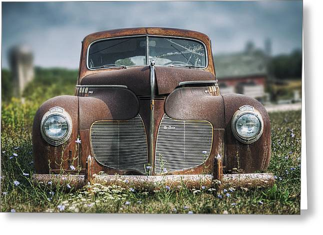 Rusted Cars Greeting Cards - 1940 DeSoto Deluxe Greeting Card by Scott Norris